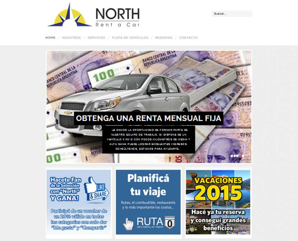 Diseño web de North Rent a Car